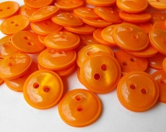 """100 Orange Pop Up Round Buttons Size 9/16"""":"""