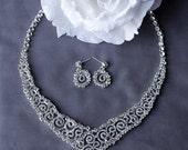 SALE Bridal Rhinestone Necklace Earrings Set Crystal Necklace Crystal Earrings Wedding Jewelry Bridal Jewelry Set NK040LX