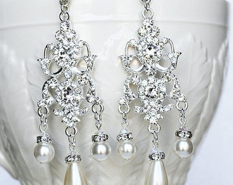 Bridal Earring Wedding Earring Rhinestone Chandelier Earrings Crystal Pearl Chandelier Earrings Bridal Wedding Jewelry ER042LX