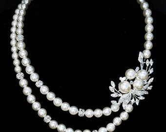 Bridal Pearl Rhinestone Necklace Double Strand Crystal Wedding Jewelry BELLINI Collection US NK007LX