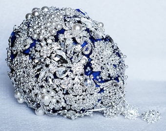 Vintage Cascading Teardrop Bridal Brooch Bouquet Tear Drop Pearl Rhinestone Crystal Silver Dark Royal Blue Black BB015LX