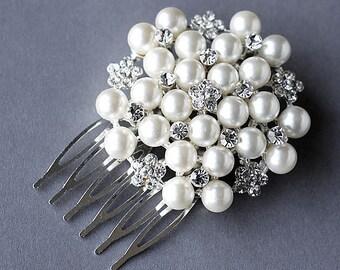 Rhinestone and Pearl Bridal Hair Comb Accessory Wedding Jewelry Crystal Flower Side Tiara CM025LX