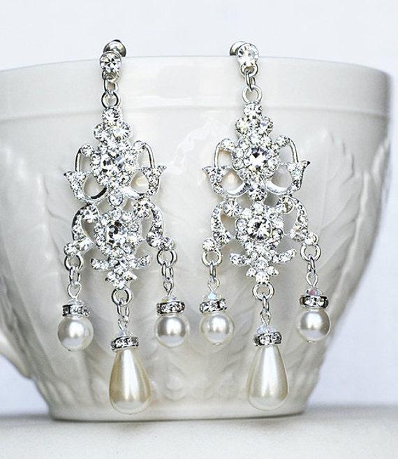 Bridal Earring Wedding Earring Rhinestone Chandelier Earrings Crystal Pearl Chandelier Earrings Bridal Wedding Jewelry ER042LX