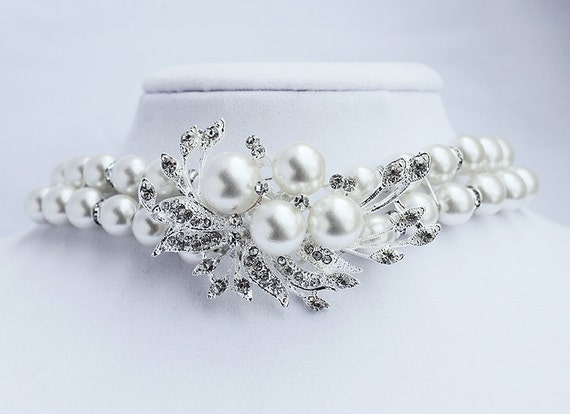 Bridal Pearl Rhinestone Pearl Bracelet Crystal Wedding Jewelry Double Strand BELLINI BL038LX