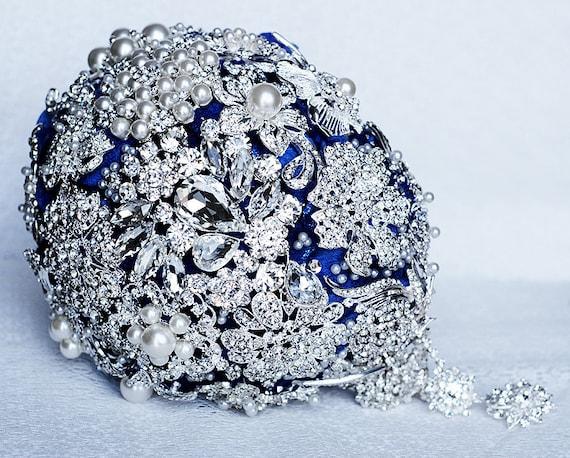 Vintage Cascading Teardrop Bridal Brooch Bouquet Tear Drop Pearl Rhinestone Crystal Silver Dark Royal Blue Black BB015LX