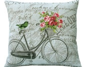 Aqua Backround Vintage Bike Pink Roses & Bird on French Document 20x20 or 18x18 or 16x16 or 14x14 Inch Pillow Cover