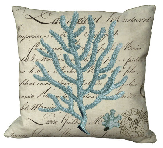 Coral on French Document in Blue, Aqua or Seamist in Choice of 14x14 16x16 18x18 20x20 22x22 24x24 26x26 inch Pillow Cover
