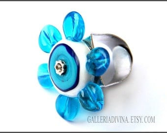 SALE - 25% OFF - Lampwork glass ring - Blue Flower