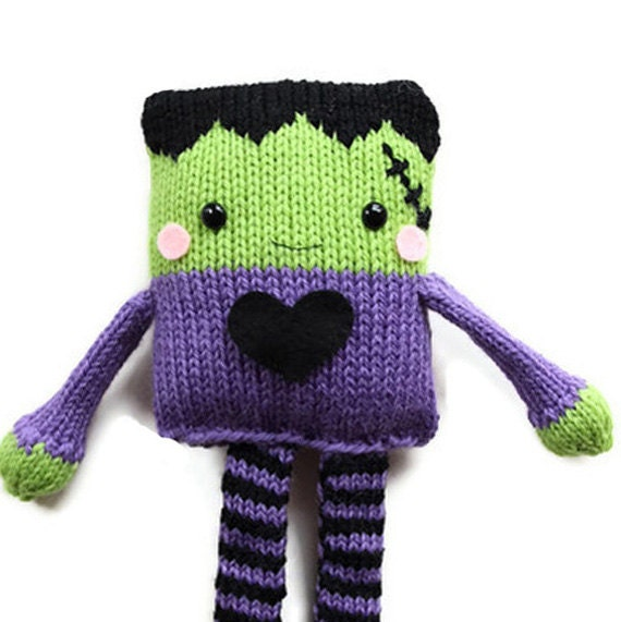 Halloween Knitting Pattern Toy Frankenstein by GandGPatterns