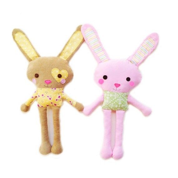 Small Toy Rabbits : Items similar to bunny sewing pattern mini plush toy