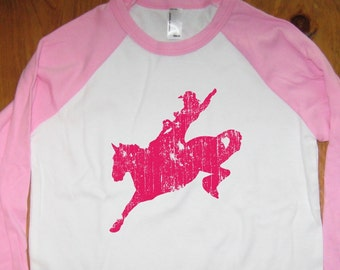 Cowgirl Shirt - Horse Shirt - Kids Shirt - Raglan Tee Shirt - Rodeo Shirt - Sizes 8, 10, 12  - Gift Friendly