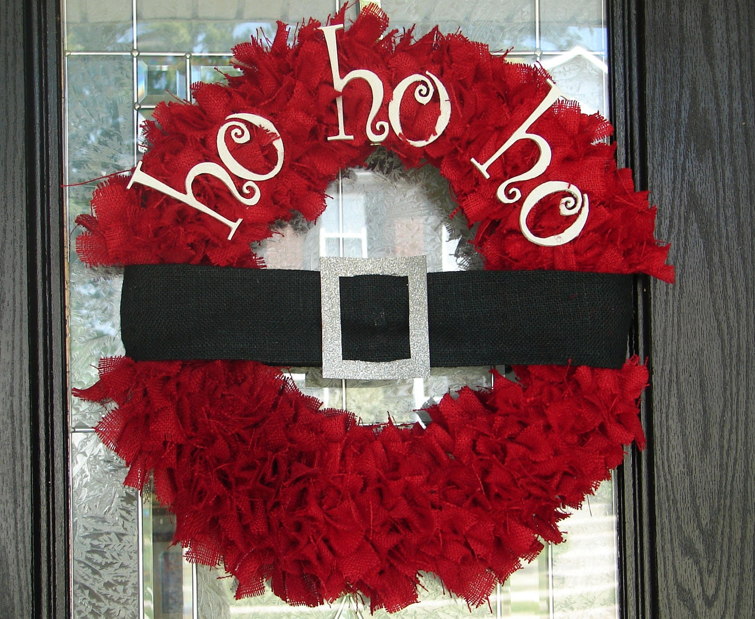 Santa ho ho ho wreath for How to make christmas door wreaths
