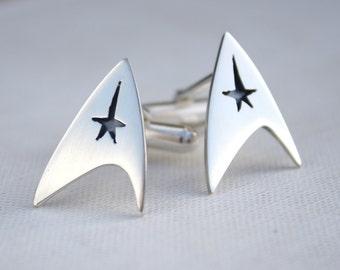 mens cufflinks / Star Trek cufflinks / quirky mens jewelry / silver geek jewelry