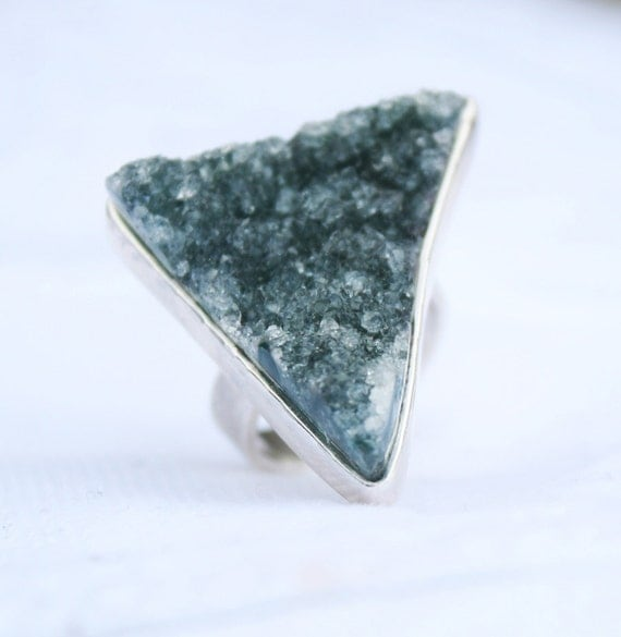 drusy ring natural sea green quartz crystal geometric triangle stone sterling silver ooak ring