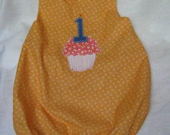 Orange First Birthday Romper, Size 12 months