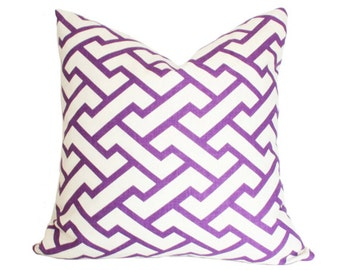 Aga Quadrille Purple Designer Pillow Cover single-sided 14x14