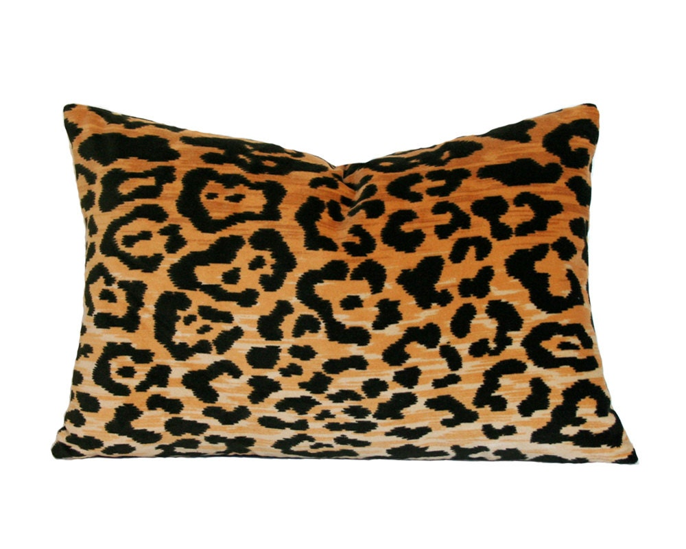 Animal Print Pillows For Couch : Leopard Velvet Lumbar Pillow Cover Made-to-Order