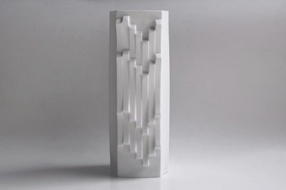 Reserved White Large Bisque Op Art Vase by Heinrich Fuchs for Hutschenreuther, 1960s