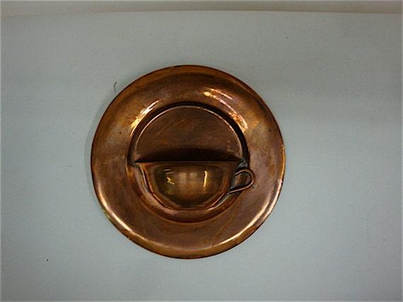 Copper Tea Cup Wall Hanging Pocket Plaque