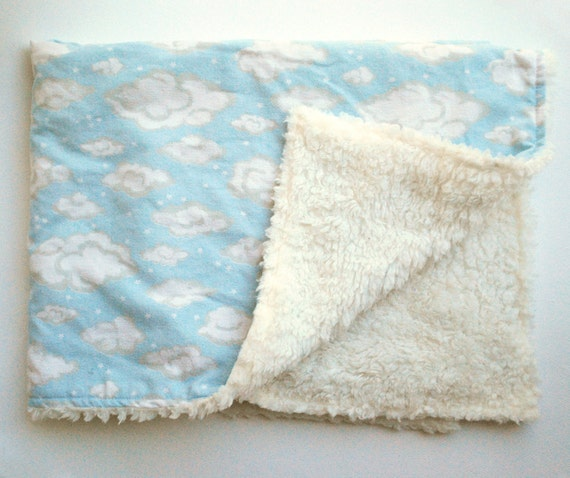 Baby Cloud Blanket Cotton Flannel And Cream Fuzzy By