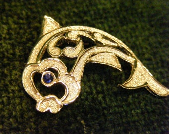 On Sale Gerry's Silver Fish Pin, Open Work Brooch with Blue Rhinestone