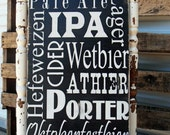 Beer Sign Man Cave Groom Gift Bar Sign on Wood or Canvas with Custom colors