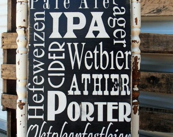 Beer Man Cave Sign, Rustic Beer Sign, Gift for Him, Wedding Gift, Groom Gift,  Bar Sign on Wood or Canvas with Custom colors