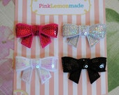 Baby Hair Clips - Hair Clippies - Glam set of 4 sequin bow hair clippies -FREE SHIPPING on all additional items