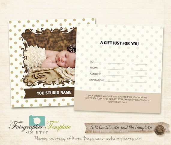 gift certificate photo card template photography templates. Black Bedroom Furniture Sets. Home Design Ideas