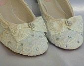 Something Blue Wedding Ballet flats..Vintage Lace Bridal Shoes .. Swarovski Crystals. Custom Designs / FREE postage within the USA