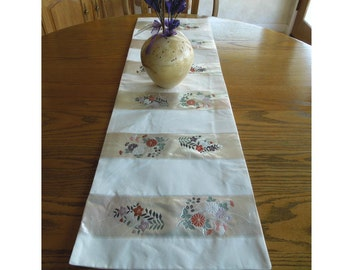 Nagoya obi table runner - white and silver silk bands woven with flowers