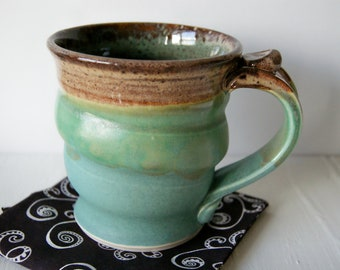 Handmade Mug, Pottery Coffee Mug in Green and Brown by RiverStone Pottery