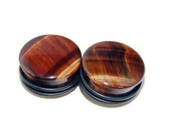 """Single Flare Red Tigers Eye Plugs - 8g, 6g, 4g, 2g, 9/16"""", 5/8"""", 3/4"""", 7/8, 1"""""""