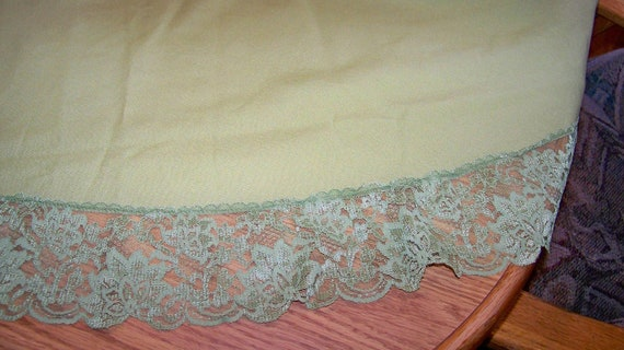 Vintage Green Fabric Tablecloth with Lace Trim - Unique - Round 62 inch