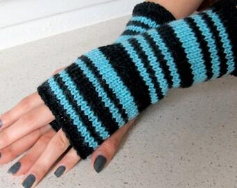 Black & bluish green superwash  wool striped handwarmers