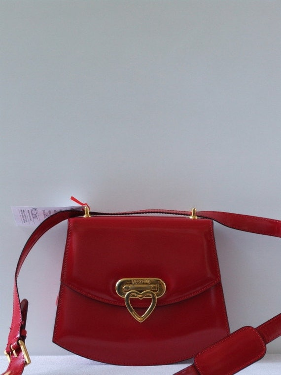 Reserved for Hannah Vintage 90s Moschino Redwall bright red patent leather crossbody bag