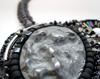 La Bella Luna - Necklace Beadwoven Black Grey Lunar Embroidered Purple Woven Moon