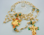 Christmas Catholic Rosary Teal Pearl and White Catseye Gold Plated