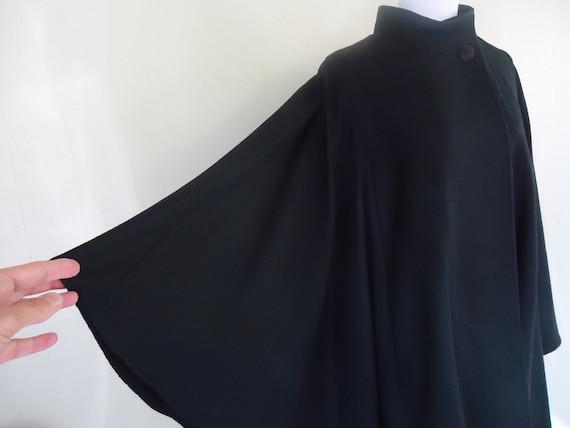 RESERVED              vintage wool cape / 1960s wool cape / M J Seattle black wool cape