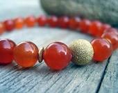 Orange South American Topaz Stretch Bracelet Gold Beads