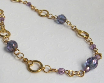 Purple and Gold Necklace, Single Strand Beaded Necklace, Czech Bead Necklace, Simple Everyday Jewelry