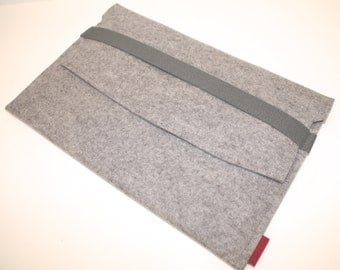 "Mac, Mac Air 13"" iPad Pro Sleeve/Case Wool Felt with Elastic Trim Side Load in Granite"