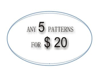 Any 5 patterns for 20 USD, PDF DIY crochet photo tutorial, quick and easy gift