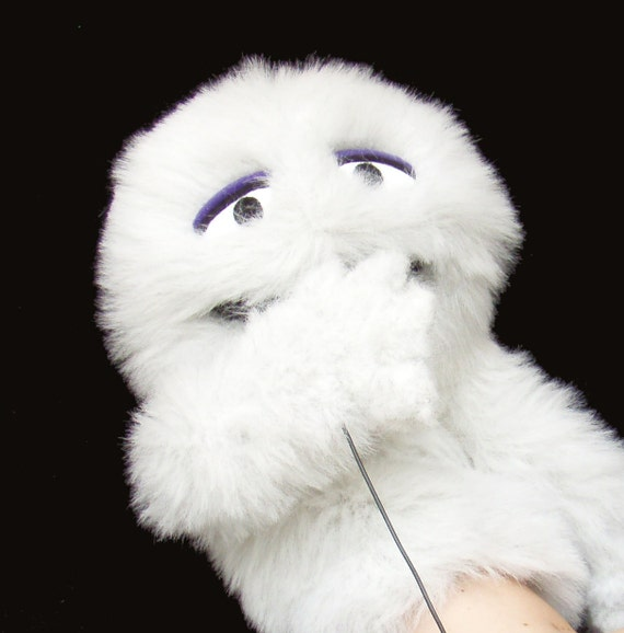 Keep Calm And Movin Right Along The Muppets: White Furry Muppet Monster Hand Puppet Plush Toy By