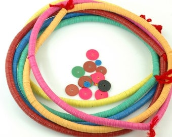 Half-Strands: African Vinyl (Vulcanite) Phono Record Disc Beads, Bright , Fun Happy Rainbow, 6 HALF strands, 6x.5mm /Jewelry Making Supplies