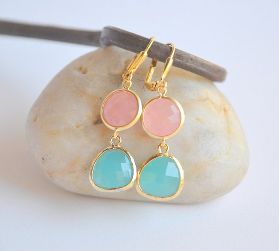 Turquoise Teardrop and Coral Pink Circle Dangle Earrings in Gold Jewelry Gift for Her.  Free Shipping.