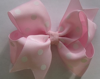 Hair Bow- Pink Polka Dot - Hair Bow