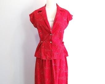 1980s Red Dress Vintage 80s Tube Dress - XS / S