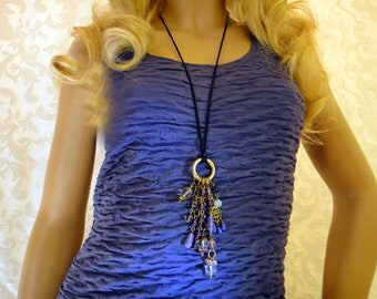 Amethyst, Agate, Quartz, Art Nouveau inspired Statement Pendant Necklace, OOAK Artisan Handcrafted in America