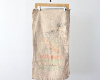 vintage farm seed bag, American grain sack, farmhouse textile